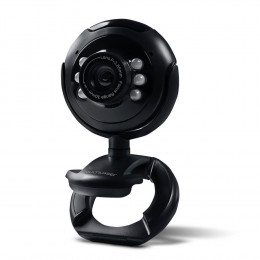 Webcam Multilaser Plug e Play 16Mp Night Vision Microfone USB Preto - WC045